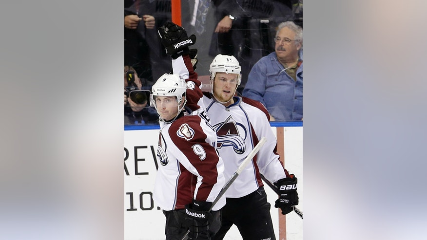 Colorado Avalanche left wing Jamie McGinn (11) is congratulated by teammate Matt Duchene (9) after McGinn scored against the Florida Panthers during the second period of an NHL hockey game in Sunrise, Fla., Friday, Jan. 24, 2014. (AP Photo/Alan Diaz)