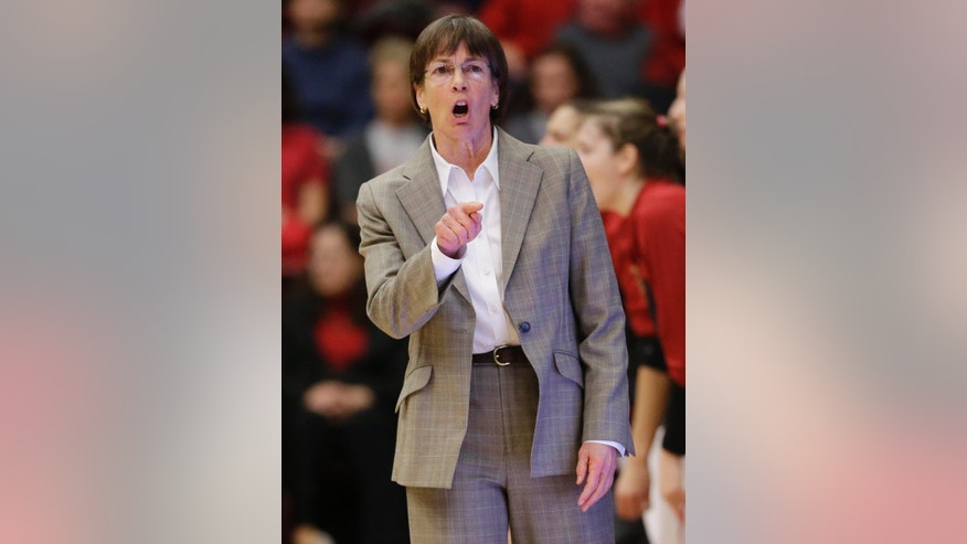 Stanford coach Tara VanDerveer talks to her players during the first half of an NCAA college basketball game against UCLA on Friday, Jan. 24, 2014, in Stanford, Calif. (AP Photo/Marcio Jose Sanchez)