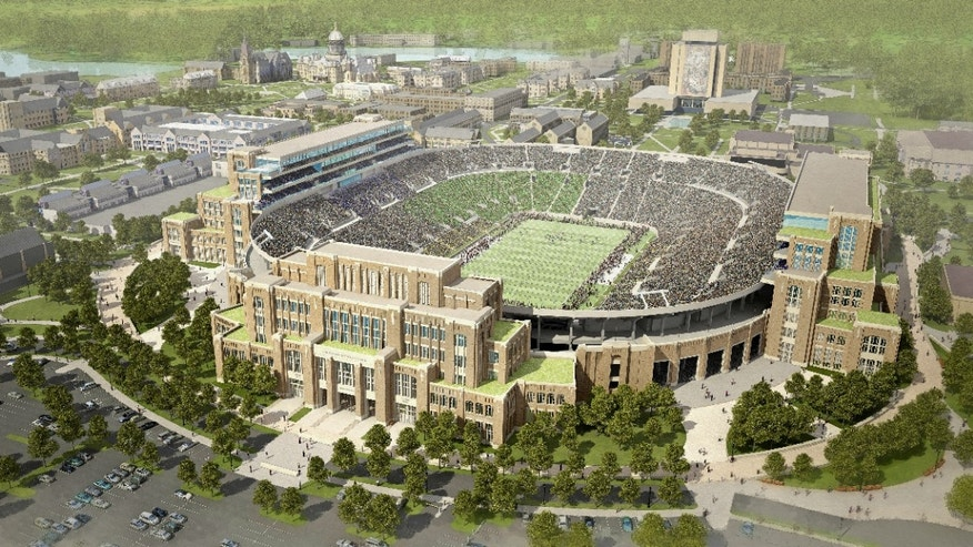 "In this artists rendering provided by The University of Notre Dame is the school's new football stadium. Notre Dame announced plans Wednesday, Jan. 29, 2014 to expand the school's 84-year-old football stadium, adding up to 4,000 premium seats and spending about $400 million to add buildings on three sides of the ""House that Rockne Built."" (AP Photo/The University of Notre Dame)"