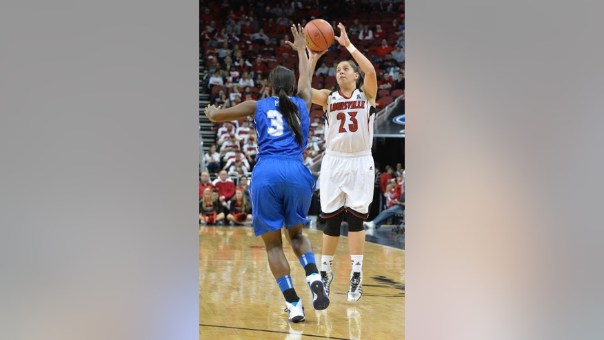 Louisville's Shoni Schimmel, right, puts uo a three point shot over the defense of Memphis' Devin Mack during the second half of an NCAA basketball game Sunday, Jan. 26, 2014 in Louisville, Ky. Louisville defeated Memphis 88-61, and Schimmel finished with 29 points, with 9 of 12 from the three point line. (AP Photo/Timothy D. Easley)