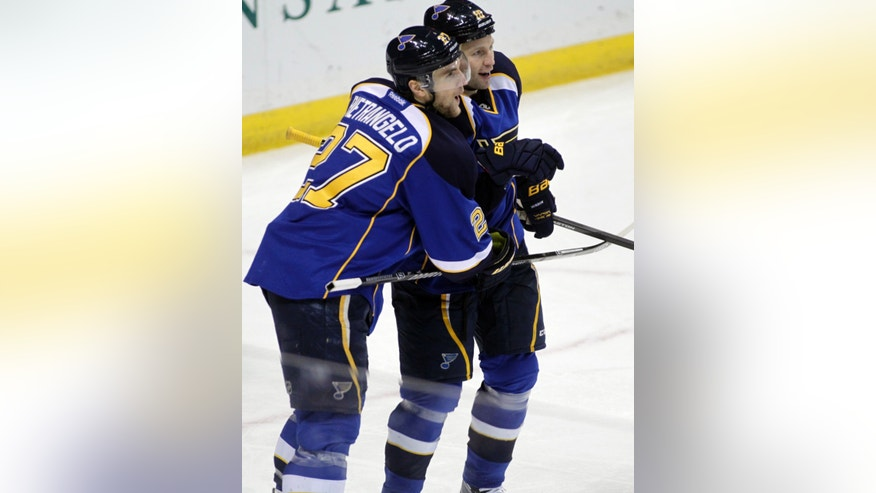 St. Louis Blues' Alex Pietrangelo (27) congratulates teammate Brenden Morrow (10) after he scored a goal in the third period of an NHL hockey game against the New Jersey Devils, Tuesday, Jan. 28, 2014 in St. Louis. The Blues beat the Devils 3-0. (AP Photo/Tom Gannam)