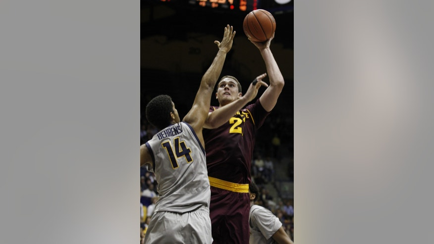 Arizona State's Eric Jacobsen shoots as California's Christian Behrens (14) defends during the first half of an NCAA college basketball game, Wednesday, Jan. 29, 2014, in Berkeley, Calif. (AP Photo/George Nikitin)