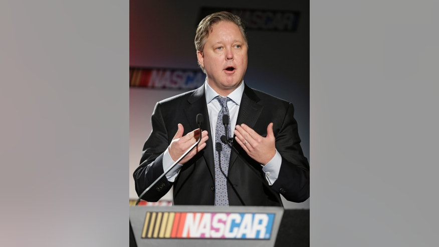 NASCAR CEO Brian France speaks to the media during a news conference at the NASCAR Sprint Cup auto racing Media Tour in Charlotte, N.C., Thursday, Jan. 30, 2014. (AP Photo)