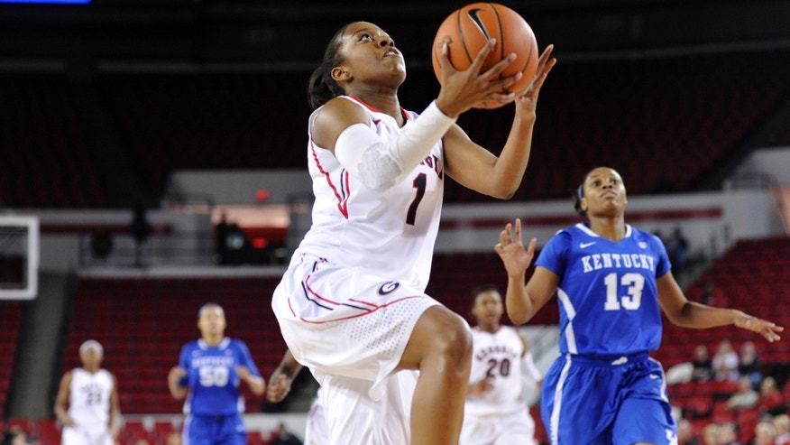 Georgia guard Khaalidah Miller (1) shoots a layup during the first half of an NCAA college basketball game against Kentucky, Thursday, Jan. 30, 2014, in Athens, Ga. (AP Photo/AJ Reynolds)