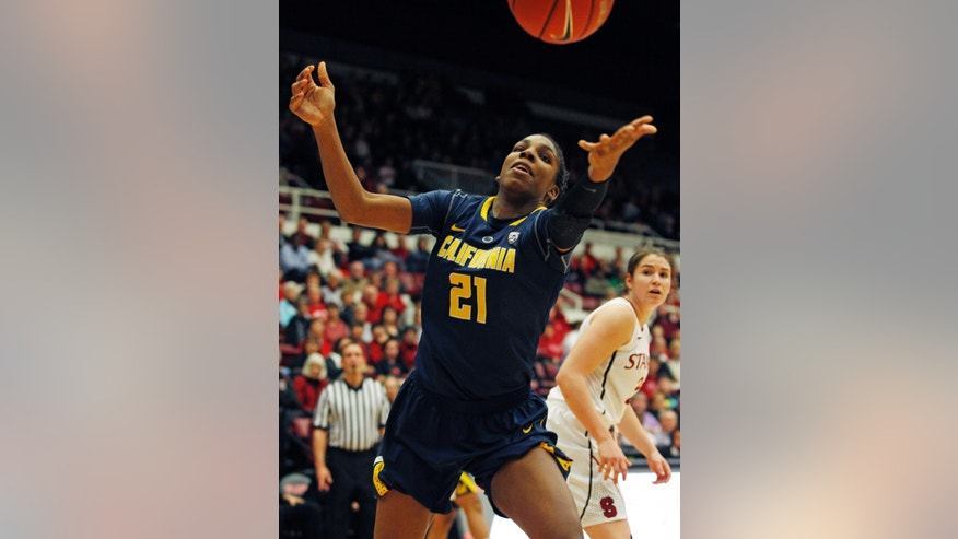 California's Reshanda Grey reaches for a loose ball as Stanford's Sara James watches during the first half of an NCAA college basketball game, Thursday, Jan. 30, 2014 in Berkeley, Calif. (AP Photo/George Nikitin)