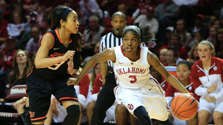 Oklahoma guard Aaryn Ellenberg, right, drives to the basket around Oklahoma State guard Tiffany Bias, left, during the second half of an NCAA college basketball game in Norman, Okla., Saturday, Feb. 1, 2014. Oklahoma won 81-74. (AP Photo/Alonzo Adams)