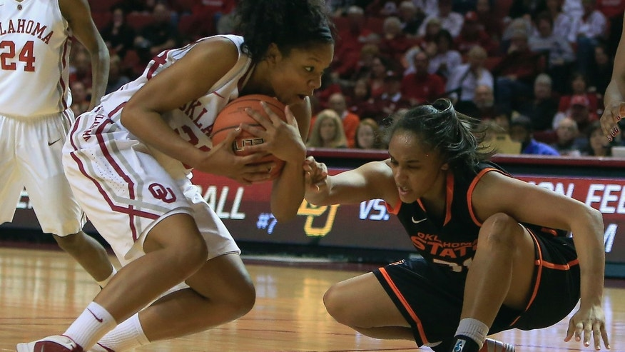 Oklahoma guard Gioya Carter, left, and Oklahoma State center Kendra Suttles, right, fight over a loose ball during the second half of an NCAA college basketball game in Norman, Okla., Saturday, Feb. 1, 2014. Oklahoma won 81-74. (AP Photo/Alonzo Adams)