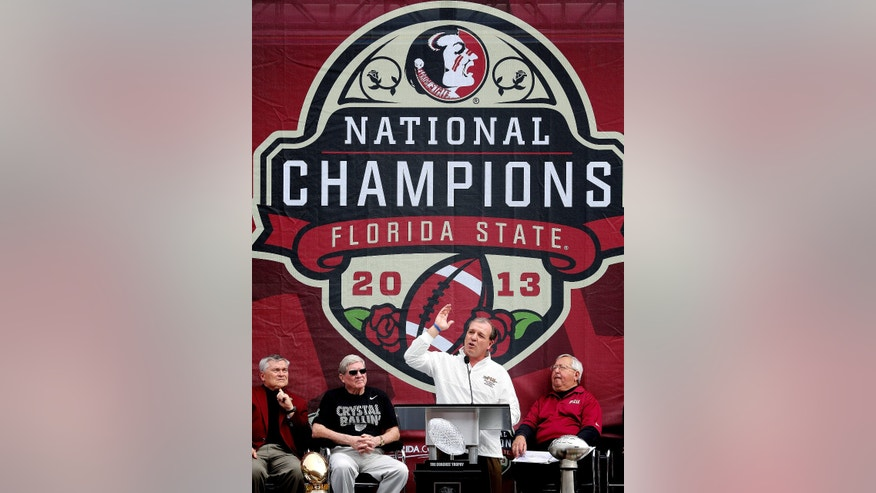 Florida State coach Jimbo Fisher speaks during a celebration of the football team's national championship, Saturday, Feb. 1, 2014, in Tallahassee, Fla. (AP Photo/Tallahassee Democrat, Mike Ewen) NO SALES