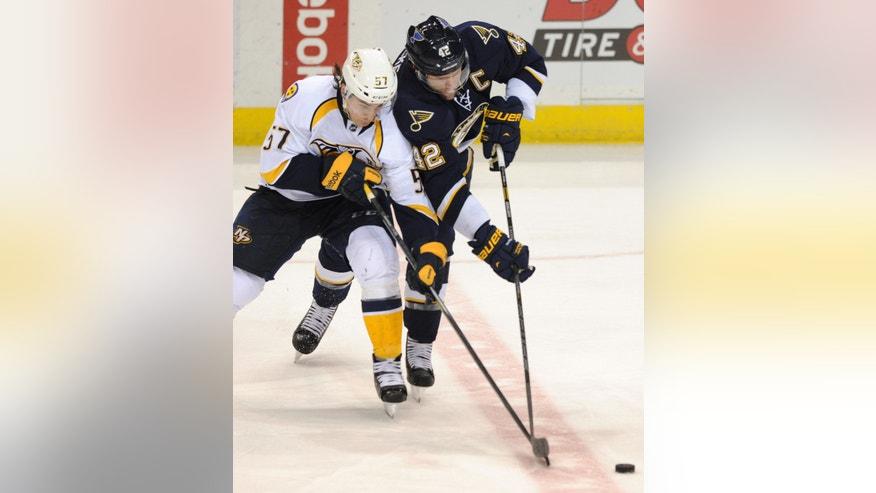 St. Louis Blues' David Backes (42) and Nashville Predators' Gabriel Bourque (57) reach for the puck during the second period of an NHL hockey game Saturday, Feb. 1, 2014, in St. Louis. (AP Photo/Bill Boyce)