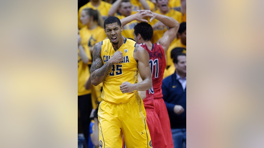 California forward Richard Solomon (35)  reacts after scoring against Arizona during the first half on an NCAA college basketball game on Saturday, Feb. 1, 2014, in Berkeley, Calif. (AP Photo/Marcio Jose Sanchez)