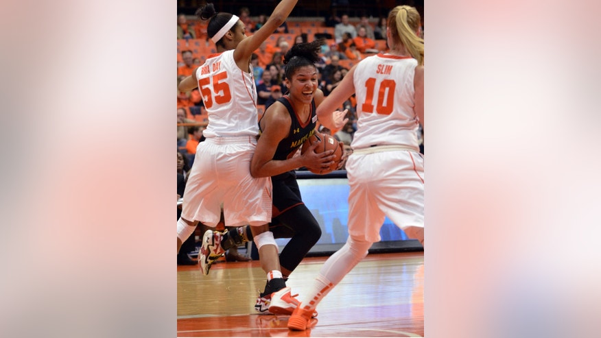 Maryland's Alyssa Thomas drives between Syracuse's Bria Day (55) and Isabella Slim(10) during the first half of an NCAA women's college basketball game in Syracuse, N.Y., Sunday, Feb. 2, 2014. (AP Photo/Kevin Rivoli)