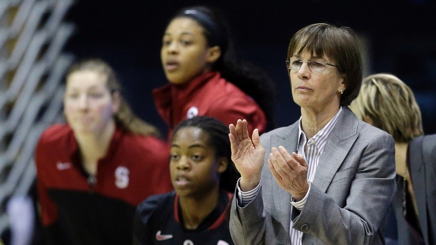 Stanford head coach Tara VanDerveer, right, applauds from the sideline as her team plays California during the first half on an NCAA college basketball game on Sunday, Feb. 2, 2014, in Berkeley, Calif. (AP Photo/Marcio Jose Sanchez)
