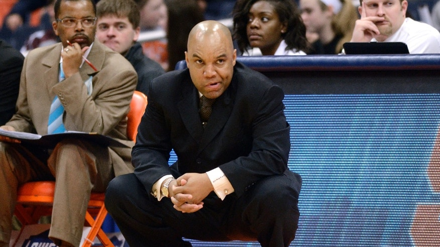 Syracuse head coach Quentin Hillsman looks on during the second half against Maryland during an NCAA college basketball game in Syracuse, N.Y., Sunday, Feb. 2, 2014. Maryland won 89-64. (AP Photo/Kevin Rivoli)