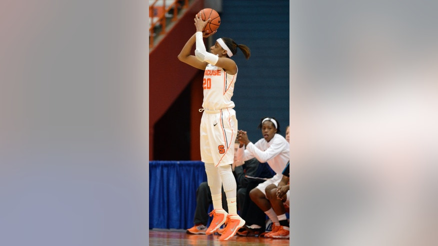 Syracuse's Brittney Sykes shoots against Maryland during the second half of an NCAA college basketball game in Syracuse, N.Y., Sunday, Feb. 2, 2014. Maryland won 89-64. (AP Photo/Kevin Rivoli)