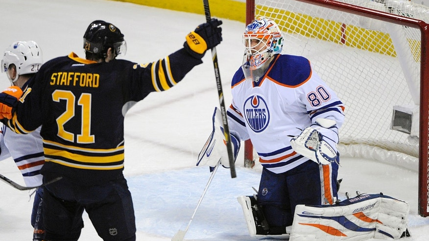 Buffalo Sabres right winger Drew Stafford (21) celebrates a goal while Edmonton Oilers goaltender Ilya Bryzgalov (80), of Russia, reacts during the first period of an NHL hockey game in Buffalo, N.Y., Monday, Feb 3, 2014. (AP Photo/Gary Wiepert)