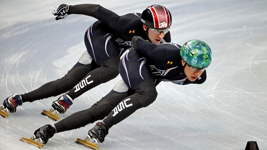 Feb. 2, 2014: United States short track speed skating teammates J.r. Celski, right, and Christopher Creveling run through a training session at the Iceberg Skating Palace at the 2014 Winter Olympics in Sochi, Russia.