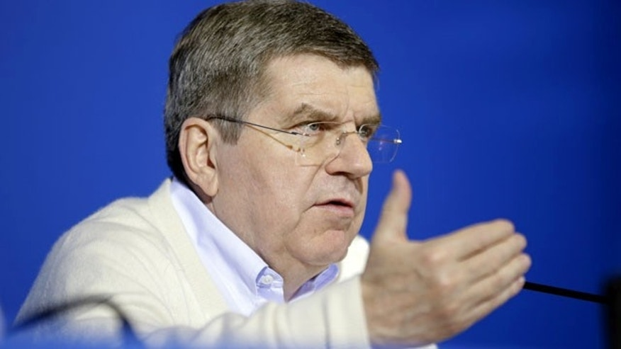 February 3, 2014: International Olympic Committee President Thomas Bach speaks during a press conference at the 2014 Winter Olympics in Sochi, Russia. (AP Photo/David Goldman)