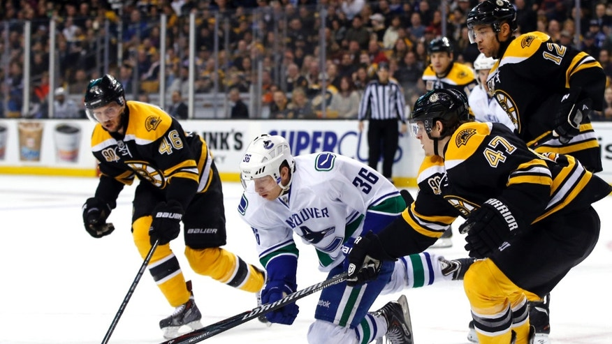 Vancouver Canucks right wing Jannik Hansen (36) chases the puck against Boston Bruins center David Krejci (46), defenseman Torey Krug (47) and right wing Jarome Iginla (12) during the first period of an NHL hockey game in Boston on Tuesday, Feb. 4, 2014. (AP Photo/Elise Amendola)