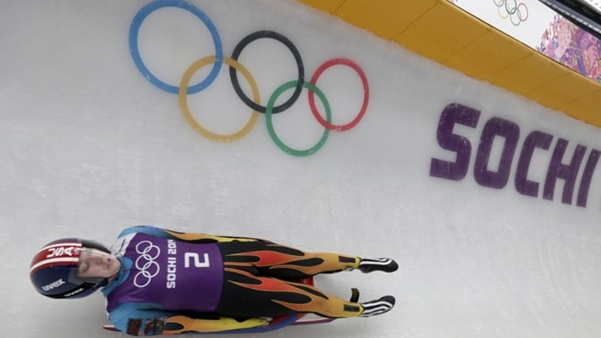 Feb. 4, 2014: Erin Hamlin of the United States completes a training run for the women's luge singles at the 2014 Winter Olympics, in Krasnaya Polyana, Russia.