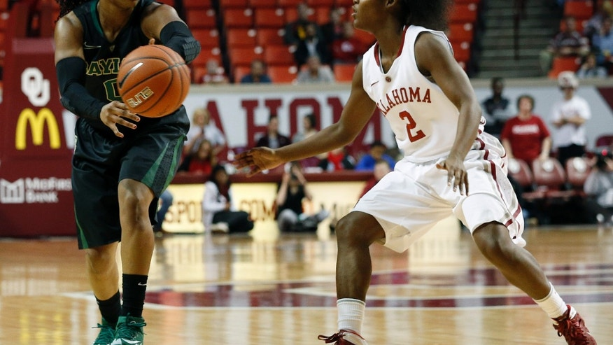 Baylor's Odyssey Sims (0) passes a ball past Oklahoma's T'ona Edwards (2) during the first half of an NCAA college basketball game in Norman, Okla., Feb. 3, 2014. (AP Photo/Garett Fisbeck)