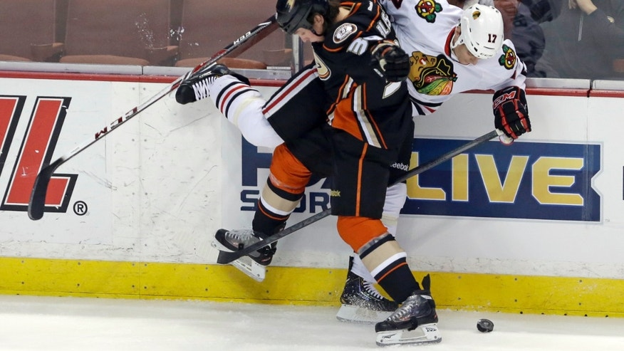 Anaheim Ducks left winger Matt Beleskey (39) and Chicago Blackhawks defenseman Sheldon Brookbank (17) tangle in the first period of an NHL hockey game in Anaheim, Calif., Wednesday, Feb. 5, 2014. (AP Photo/Reed Saxon)