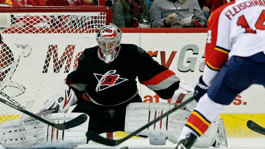 Carolina Hurricanes goalie Anton Khudobin defends the goal against Florida Panthers' Tomas Fleischmann (14) during the second period of an NHL hockey game in Raleigh, N.C., Friday, Feb. 7, 2014. (AP Photo/Gerry Broome)
