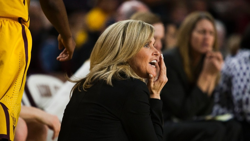 Arizona State coach Charli Turner Thorne watches her team play Arizona during an NCAA college basketball game Tuesday, Feb. 4, 2014, in Tempe, Ariz. (AP Photo/The Arizona Republic, Stacie Scott) MESA OUT  MARICOPA COUNTY OUT  MAGS OUT  NO SALES