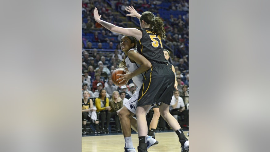 Penn State's Peyton Whitted (25) works around Iowa's Bethany Doolittle (51) during the first half of an NCAA college basketball game on Thursday, Feb. 6, 2014 in State College, Pa. (AP Photo/Ralph Wilson)