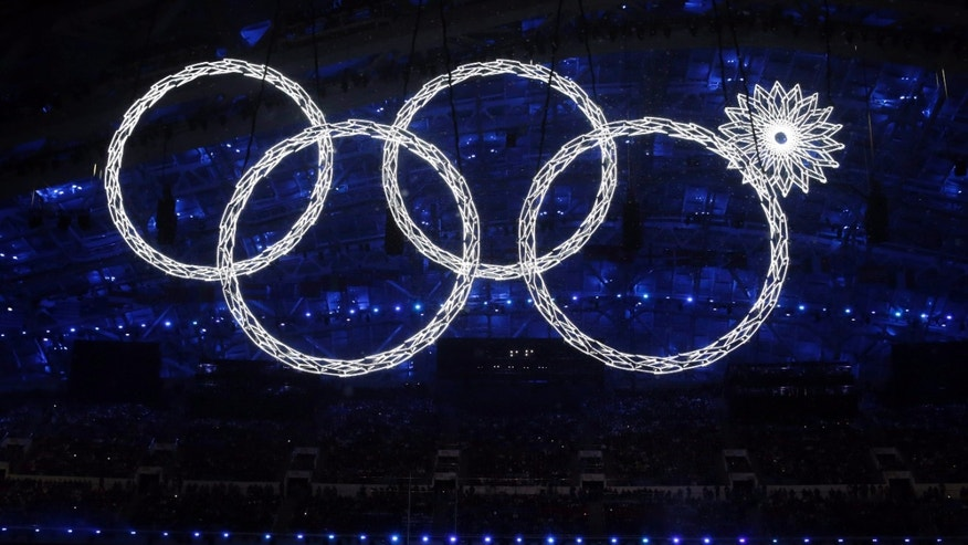 Feb. 7, 2014 - One of the rings forming the Olympic Rings fails to open during the opening ceremony of the 2014 Winter Olympics in Sochi, Russia.