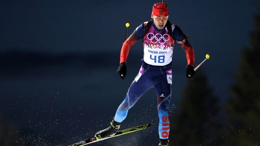 Feb. 8, 2014: Russia&#39&#x3b;s Anton Shipulin competes during the men&#39&#x3b;s biathlon 10k sprint, at the 2014 Winter Olympics in Krasnaya Polyana, Russia. (AP Photo/Felipe Dana)