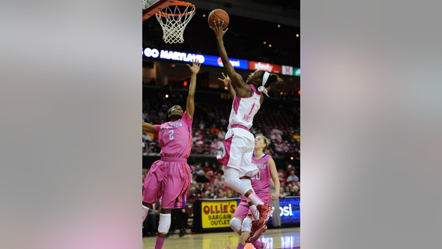 Maryland's Laurin Mincy, right, shoots as Clemson's Chelsea Lindsay tries to block in the second half of an NCAA college basketball game on Sunday, Feb. 9, 2014, in College Park, Md. Maryland won 95-43. (AP Photo/Gail Burton)