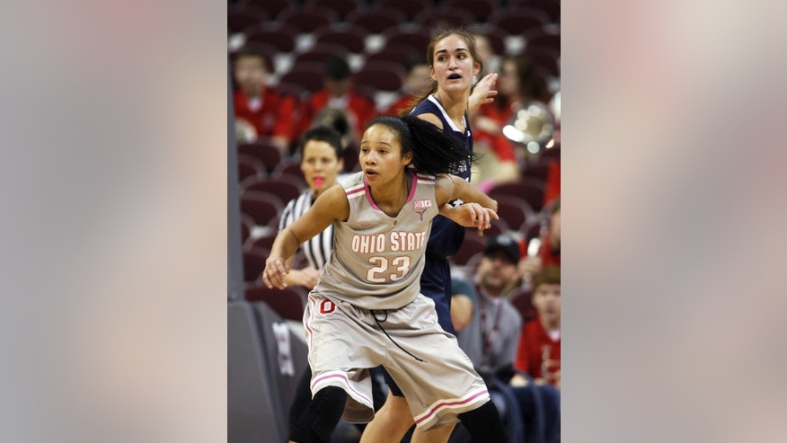 Ohio State's Martina Ellerbe (23) blocks out Penn State's Tori Waldner during the first half of an NCAA women's college basketball game, Sunday, Feb. 9, 2014, in Columbus, Ohio. (AP Photo/Mike Munden)