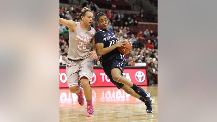 Ohio State's Amy Scullion (25) tries to slow down Penn State's Ariel Edwards (23) during the first half of an NCAA college basketball game on Sunday, Feb. 9, 2014, in Columbus, Ohio. (AP Photo/Mike Munden)