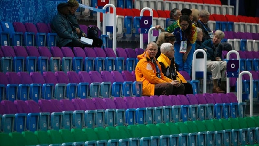 Feb. 10, 2014: Empty seats are seen before the men's 1,500 meters short track speed skating heats event at the Iceberg Skating Palace during the 2014 Sochi Winter Olympics.