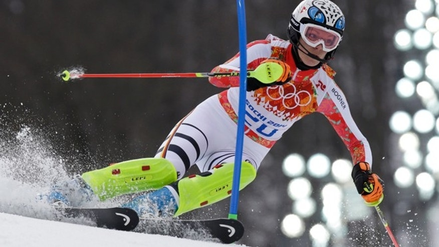Feb. 10, 2014: Germany&#39&#x3b;s Maria Hoefl-Riesch passes a gate in the slalom portion of the women&#39&#x3b;s supercombined to win the gold medal at the Sochi 2014 Winter Olympics.