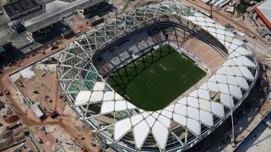 Aerial view of the Arena da Amazonia stadium in Manaus, Brazil, on Dec. 10, 2013.