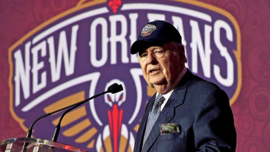 FILE - In this Jan. 24, 2013 file photo, New Orleans Hornets NBA team owner Tom Benson speaks at a news conference announcing that the NBA basketball team's name will change from the Hornets to the Pelicans, in New Orleans. One of the people most responsible for bringing NBA All-Stars back to the Big Easy this weekend is an 86-year-old man who wasn't that into basketball for much of his life. He is Tom Benson. And in New Orleans, NBA fans and community leaders are grateful the Pelicans owner finally came around. (AP Photo/Gerald Herbert, File)