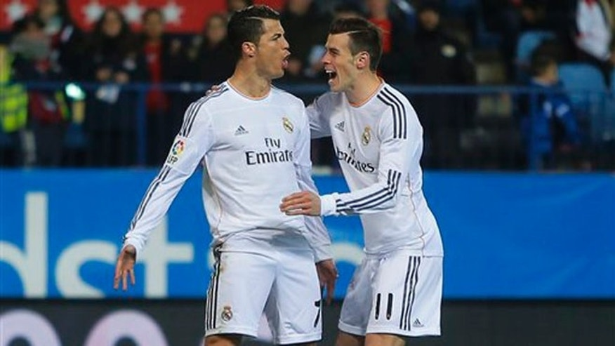 Real Madrid's Cristiano Ronaldol, left, with Gareth Bale, right.