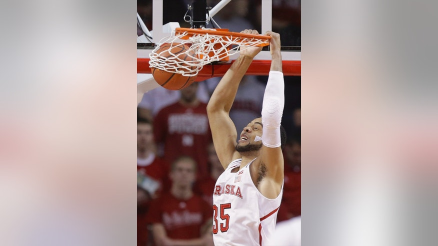 Nebraska's Walter Pitchford dunks against Illinois in the first half of an NCAA college basketball game in Lincoln, Neb., Wednesday, Feb. 12, 2014. (AP Photo/Nati Harnik)