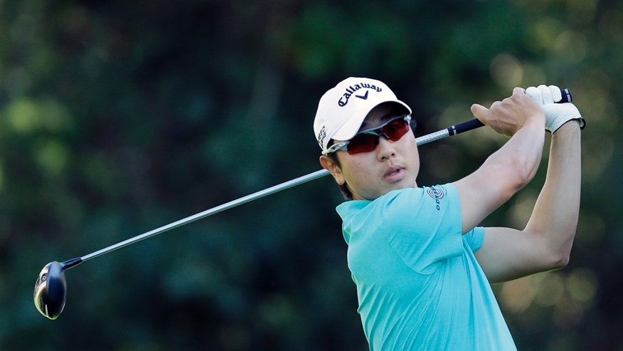 Sang-Moon Bae, of South Korea, drives on the 12th tee in the second round of the Northern Trust Open golf tournament at Riviera Country Club in the Pacific Palisades area of Los Angeles, Friday, Feb. 14, 2014. (AP Photo/Reed Saxon)