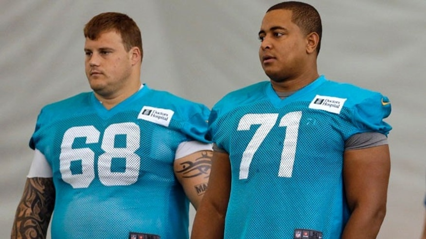 July 24, 2013: In this file photo, Miami Dolphins guard Richie Incognito (68) and tackle Jonathan Martin (71) stand on the field during NFL football practice in Davie, Fla.