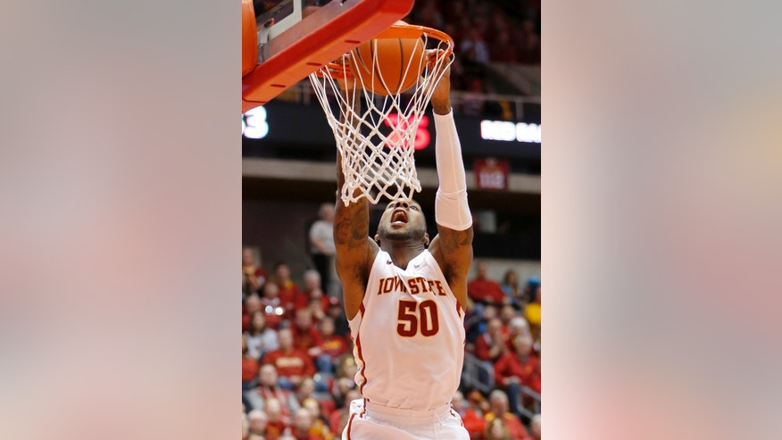 Iowa State guard DeAndre Kane dunks the ball during the first half of an NCAA college basketball game again Texas Tech at Hilton Coliseum in Ames, Iowa, Saturday, Feb. 15, 2014. (AP Photo/Justin Hayworth)
