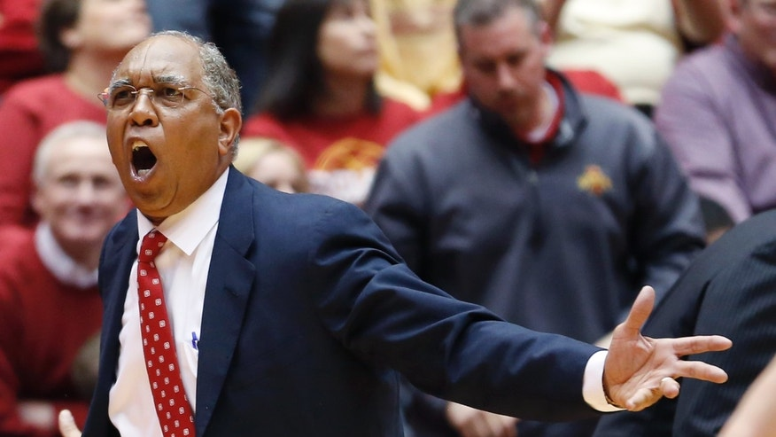 Texas Tech  coach Tubby Smith argues about an offensive foul call against his team late the second half of an NCAA college basketball game against Iowa State at Hilton Coliseum in Ames, Iowa, Saturday, Feb. 15, 2014. Iowa State won 70-64. (AP Photo/Justin Hayworth)