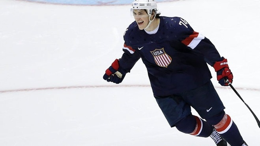 Feb. 15, 2014: USA forward T.J. Oshie reacts after scoring the winning goal against Russia goaltender Sergei Bobrovski in a shootout during overtime of a men's ice hockey game at the 2014 Winter Olympics.