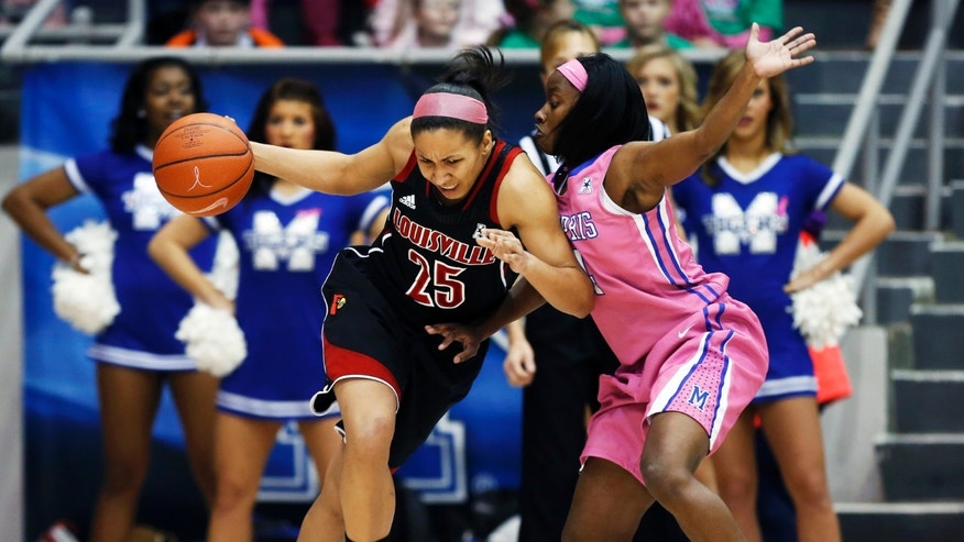 Louisville guard Tia Gibbs (25) runs into Memphis guard Ariel Hearn in the first half of an NCAA college basketball game on Sunday, Feb. 16, 2014, in Memphis, Tenn. (AP Photo/Yalonda M. James)
