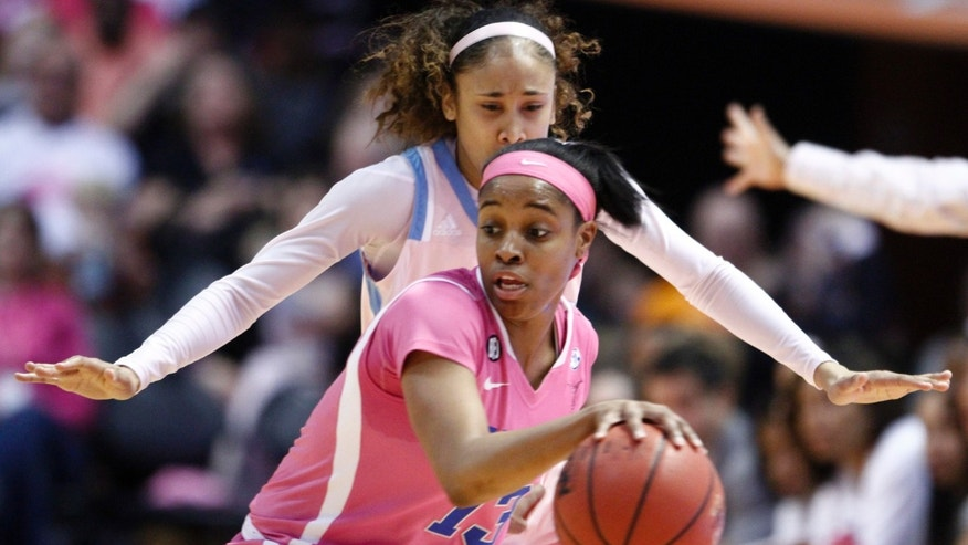 Kentucky guard Bria Goss (13) works the ball as she is defended by Tennessee guard Meighan Simmons in the first half of an NCAA college basketball game on Sunday, Feb. 16, 2014, in Knoxville, Tenn. (AP Photo/Wade Payne)