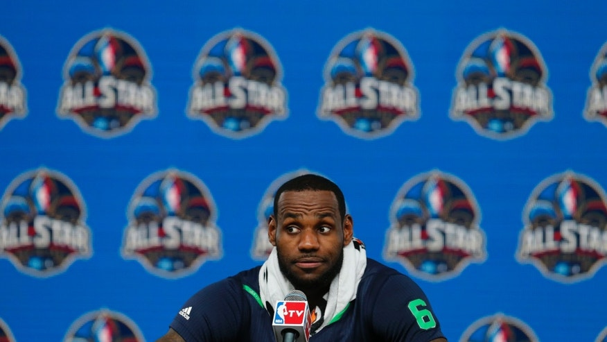 The Miami Heat's LeBron James speaks at a news conference after the NBA All Star basketball game, Sunday, Feb. 16, 2014, in New Orleans. (AP Photo/Bill Haber)