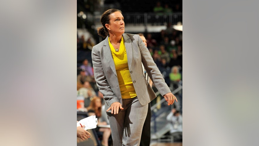 Georgia Tech coach MaChelle Joseph reacts to play during the first half of an NCAA college basketball game, Monday, Feb. 17, 2014, in South Bend, Ind. (AP Photo/Joe Raymond)