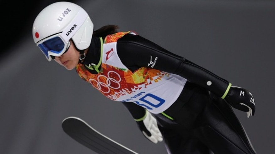 Feb. 11, 2014: Japan's Sara Takanashi makes her trial jump in the women's ski jumping normal hill final at the 2014 Winter Olympics in Krasnaya Polyana, Russia.