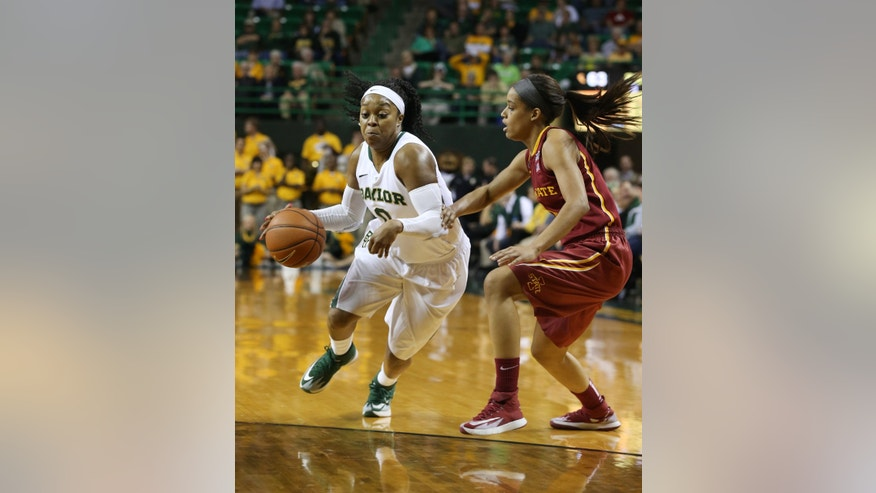 Baylor guard Odyssey Sims (0), left, drives past Iowa State guard Nikki Moody (4), right, in the second half of an NCAA college basketball game, Wednesday, Feb. 19, 2014, in Waco, Texas. (AP Photo/Rod Aydelotte)